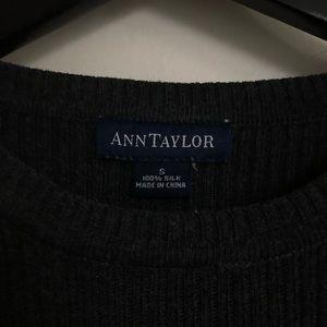 Ann Taylor | Dark grey, ribbed silk t-shirt